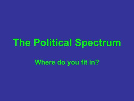 The Political Spectrum Where do you fit in?. What is the political spectrum? Let's start by looking at the horizontal (or more traditional) axis! Radical.