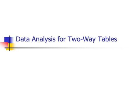 Data Analysis for Two-Way Tables. The Basics Two-way table of counts Organizes data about 2 categorical variables Row variables run across the table Column.
