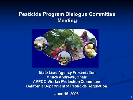 1 Pesticide Program Dialogue Committee Meeting State Lead Agency Presentation Chuck Andrews, Chair AAPCO Worker Protection Committee California Department.