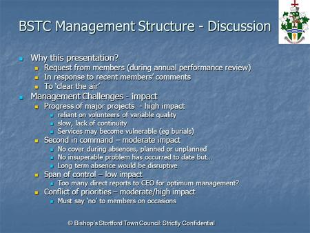© Bishop's Stortford Town Council: Strictly Confidential BSTC Management Structure - Discussion Why this presentation? Why this presentation? Request from.