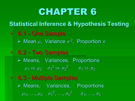6.1 - One Sample 6.1 - One Sample  Mean μ, Variance σ 2, Proportion π 6.2 - Two Samples 6.2 - Two Samples  Means, Variances, Proportions μ 1 vs. μ 2.