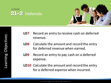 © 2014 Cengage Learning. All Rights Reserved. Learning Objectives © 2014 Cengage Learning. All Rights Reserved. LO7 Record an entry to receive cash on.