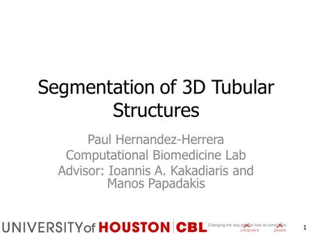 Segmentation of 3D Tubular Structures Paul Hernandez-Herrera Computational Biomedicine Lab Advisor: Ioannis A. Kakadiaris and Manos Papadakis 1.