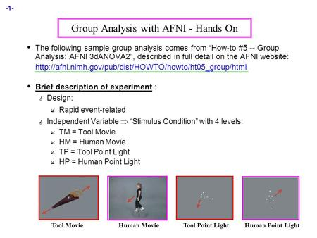 "-1- Group Analysis with AFNI - Hands On The following sample group analysis comes from ""How-to #5 -- Group Analysis: AFNI 3dANOVA2"", described in full."