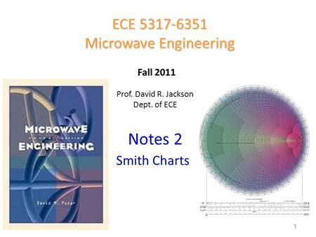 Prof. David R. Jackson Dept. of ECE Notes 2 ECE 5317-6351 Microwave Engineering Fall 2011 Smith Charts 1.