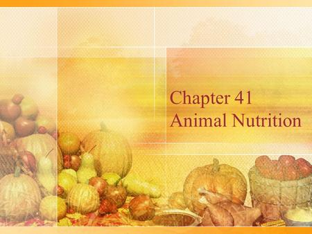 Chapter 41 Animal Nutrition. Types of Feeders Suspension feeders sift through water to obtain small food particles Fluid feeders suck nutrients from a.