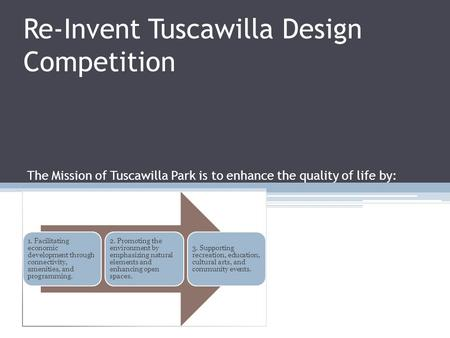 Re-Invent Tuscawilla Design Competition 1. Facilitating economic development through connectivity, amenities, and programming. 2. Promoting the environment.
