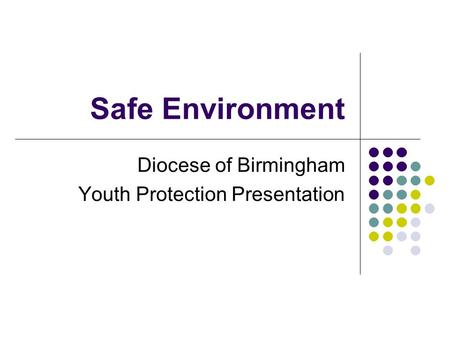 Safe Environment Diocese of Birmingham Youth Protection Presentation.