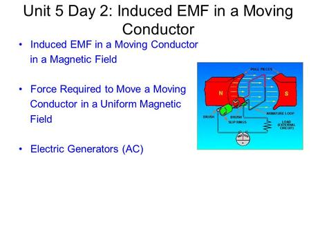 Unit 5 Day 2: Induced EMF in a Moving Conductor Induced EMF in a Moving Conductor in a Magnetic Field Force Required to Move a Moving Conductor in a Uniform.