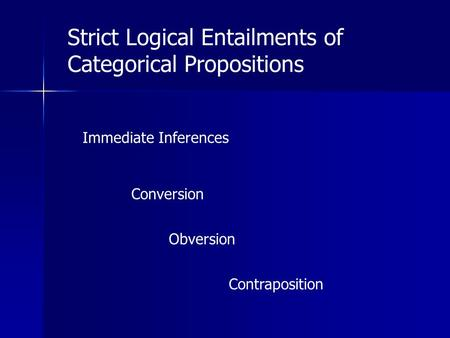 Strict Logical Entailments of Categorical Propositions Immediate Inferences Conversion Obversion Contraposition.