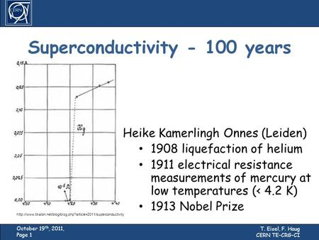 Studies of the Cryogenic Part with Load Lock System T. Eisel, F. Haug CERN TE-CRG-CI October 19 th, 2011, Page 1 Superconductivity - 100 years Heike Kamerlingh.