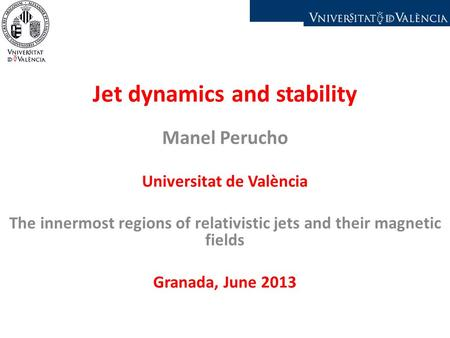 Jet dynamics and stability Manel Perucho Universitat de València The innermost regions of relativistic jets and their magnetic fields Granada, June 2013.