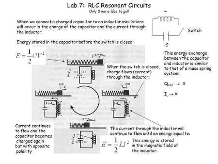 Lab 7: RLC Resonant Circuits Only 5 more labs to go!! C L When we connect a charged capacitor to an inductor oscillations will occur in the charge of the.