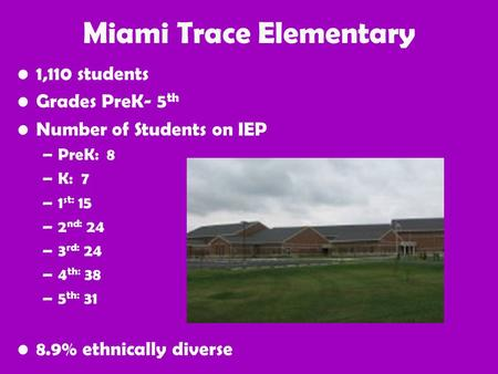Miami Trace Elementary 1,110 students Grades PreK- 5 th Number of Students on IEP –PreK: 8 –K: 7 –1 st: 15 –2 nd: 24 –3 rd: 24 –4 th: 38 –5 th: 31 8.9%