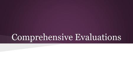 Comprehensive Evaluations. Overview OBJECTIVES: Review Comprehensive Evaluation Process Provide Information On Selected Topics  Specific Learning Disability.