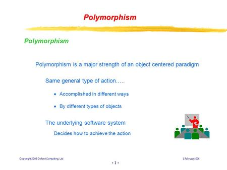 Copyright 2006 Oxford Consulting, Ltd1 February2006 - 1 - Polymorphism Polymorphism Polymorphism is a major strength of an object centered paradigm Same.
