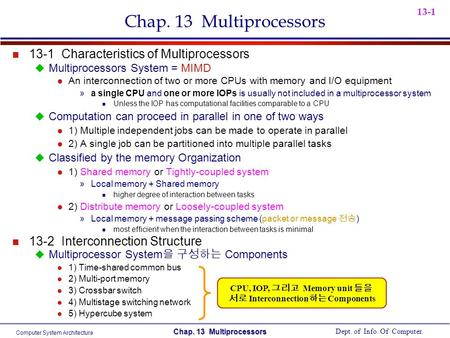 Computer System Architecture Dept. of Info. Of Computer. Chap. 13 Multiprocessors 13-1 Chap. 13 Multiprocessors n 13-1 Characteristics of Multiprocessors.