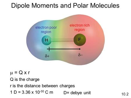 Dipole Moments and Polar Molecules 10.2 H F electron rich region electron poor region    = Q x r Q is the charge r is the distance between charges.