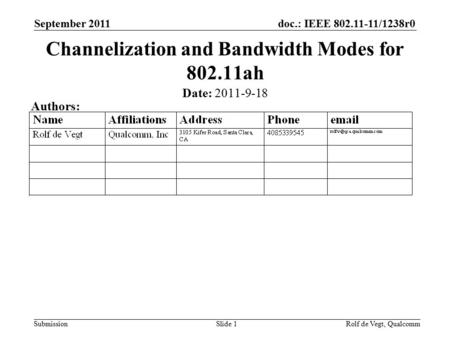 Doc.: IEEE 802.11-11/1238r0 Submission September 2011 Rolf de Vegt, QualcommSlide 1 Channelization and Bandwidth Modes for 802.11ah Date: 2011-9-18 Authors: