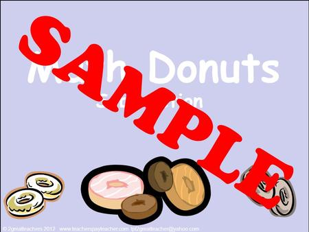 Math Donuts Subtraction © 2greatteachers 2012  SAMPLE.