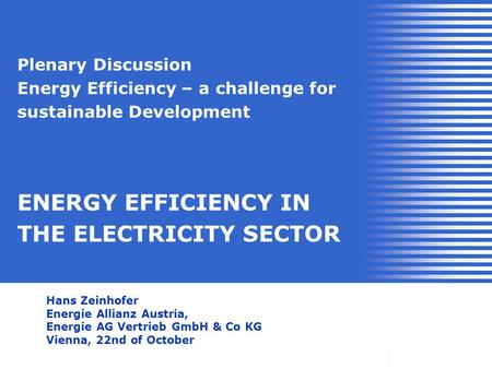 Plenary Discussion Energy Efficiency – a challenge for sustainable Development ENERGY EFFICIENCY IN THE ELECTRICITY SECTOR Hans Zeinhofer Energie Allianz.