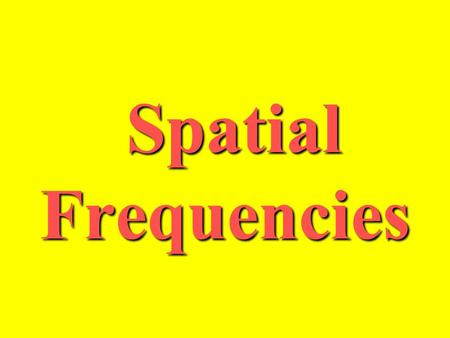 Spatial Frequencies Spatial Frequencies. Why are Spatial Frequencies important? Efficient data representation Provides a means for modeling and removing.
