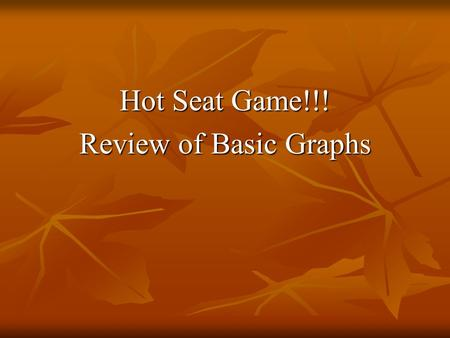 Hot Seat Game!!! Review of Basic Graphs. Which 3 functions DO NOT have all Real #'s as their domain?