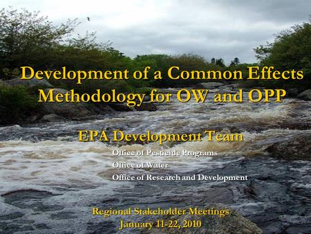 Development of a Common Effects Methodology for OW and OPP EPA Development Team Office of Pesticide Programs Office of Water Office of Research and Development.