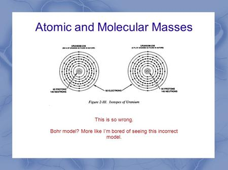 Atomic and Molecular Masses This is so wrong. Bohr model? More like I'm bored of seeing this incorrect model.