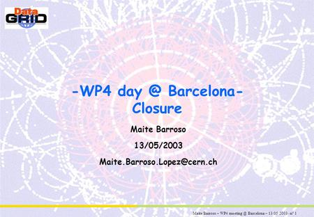 Maite Barroso – WP4 Barcelona – 13/05/2003 - n° 1 -WP4 Barcelona- Closure Maite Barroso 13/05/2003