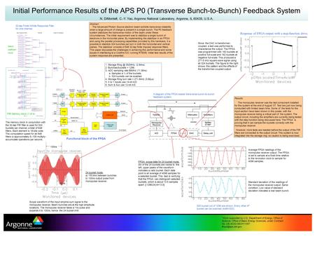 Initial Performance Results of the APS P0 (Transverse Bunch-to-Bunch) Feedback System N. DiMonte#, C.-Y. Yao, Argonne National Laboratory, Argonne, IL.