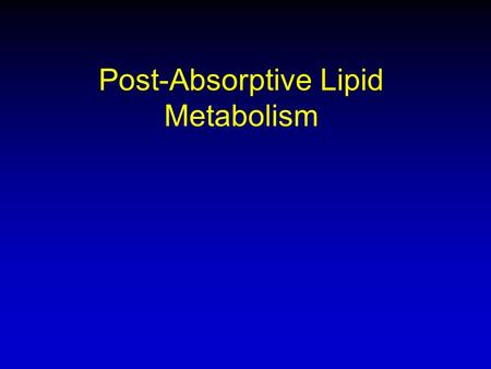Post-Absorptive Lipid Metabolism. Lipid Metabolism Terms Lipogenesis –Making of fat from dietary fat or dietary CHO Lipolysis –Breaking down of fat: GIT,