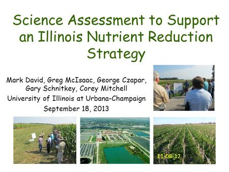 Science Assessment to Support an Illinois Nutrient Reduction Strategy Mark David, Greg McIsaac, George Czapar, Gary Schnitkey, Corey Mitchell University.