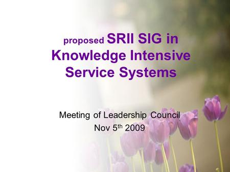 Proposed SRII SIG in Knowledge Intensive Service Systems Meeting of Leadership Council Nov 5 th 2009.