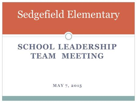 SCHOOL LEADERSHIP TEAM MEETING MAY 7, 2015 Sedgefield Elementary.