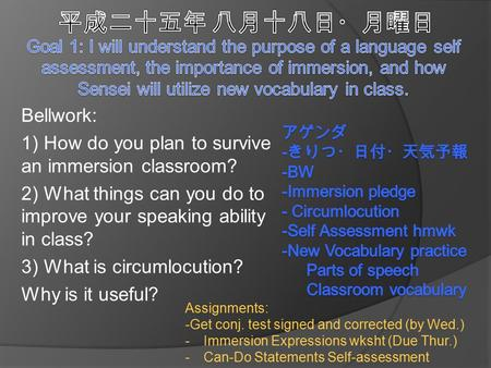 Bellwork: 1) How do you plan to survive an immersion classroom? 2) What things can you do to improve your speaking ability in class? 3) What is circumlocution?