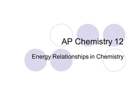 AP Chemistry 12 Energy Relationships in Chemistry.