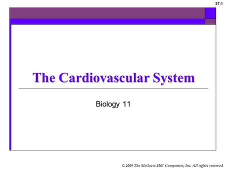 © 2009 The McGraw-Hill Companies, Inc. All rights reserved 27-1 The Cardiovascular System Biology 11.
