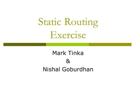 Static Routing Exercise