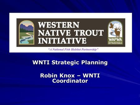 "WNTI Strategic Planning Robin Knox – WNTI Coordinator ""A National Fish Habitat Partnership"""