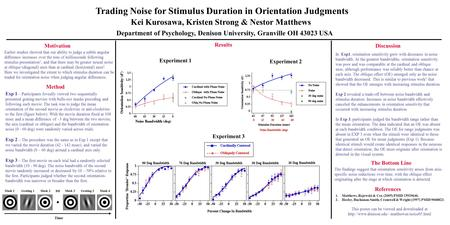 Trading Noise for Stimulus Duration in Orientation Judgments Kei Kurosawa, Kristen Strong & Nestor Matthews Department of Psychology, Denison University,