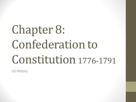Chapter 8: Confederation to Constitution 1776-1791 US History.