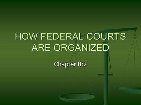 HOW FEDERAL COURTS ARE ORGANIZED Chapter 8:2. The hierarchy of the court systems There is a hierarchy for the court system of the US. There is a hierarchy.