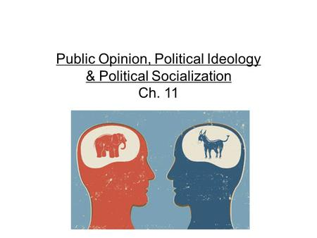 Public Opinion, Political Ideology & Political Socialization Ch. 11.