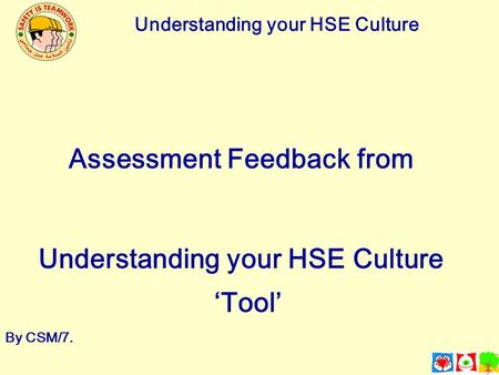Understanding your HSE Culture Assessment Feedback from Understanding your HSE Culture 'Tool' By CSM/7.