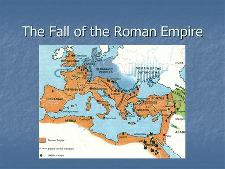 The Fall of the Roman Empire. Death of Marcus Aurelius After the death of Marcus Aurelius in 180 a.d., the Pax Romana ended. This led to power struggles.