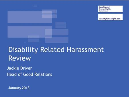 Jackie Driver Head of Good Relations Disability Related Harassment Review January 2013.