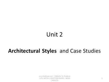 Unit 2 Architectural Styles and Case Studies www.bookspar.com | Website for Students | VTU NOTES | QUESTION PAPERS | NEWS | RESULTS 1.