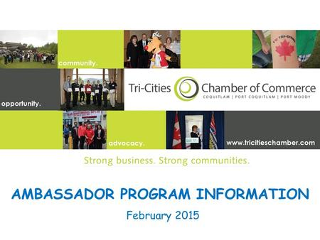 AMBASSADOR PROGRAM INFORMATION February 2015. Chamber Ambassador Team Mission To support and develop the Chamber through enlisting new members, retaining.
