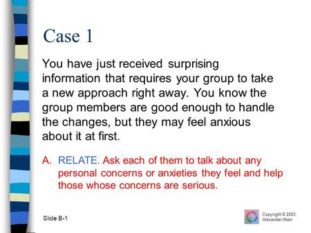 Slide B-1 Case 1 You have just received surprising information that requires your group to take a new approach right away. You know the group members are.